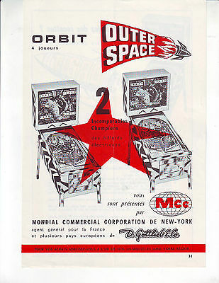 Gottlieb Outer Space + Orbit Unusual French Flipper Pinball Machine 2 Sided Ad