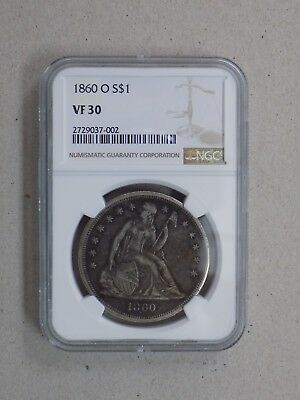 1860 O $1 Seated Liberty Silver Dollar Ngc Vf30