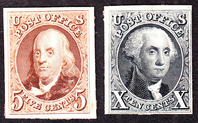 US 3P4 & 4P4 1847 Issue Franklin & Washington Proofs on Card SCV $500 (-004)