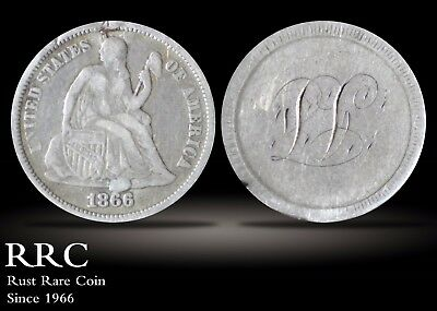 1866 (S) Seated Liberty Dime No Mintmark VF Sloping Date