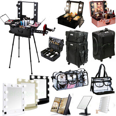 Beauty Trolley Makeup Vanity Case Beauty Box /Clear Bag / Lighted Make UP Mirror
