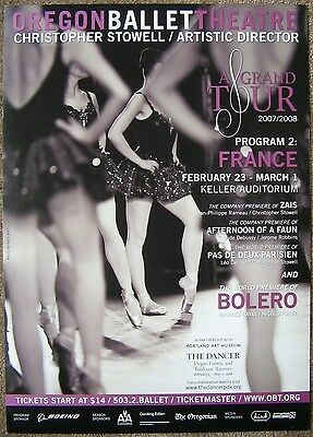 OREGON BALLET 2007-08 POSTER Grand Tour France Bolero Portland Oregon