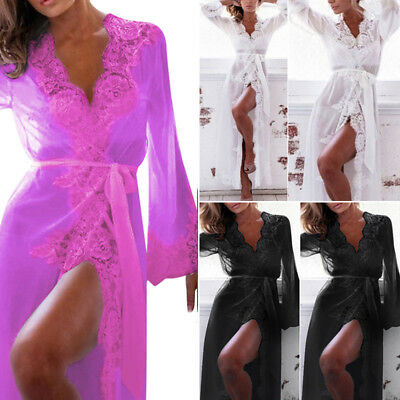 Sexy Womens Lingerie Lace Dress Long Bath Robe Gown Babydoll Nightwear Sleepwear
