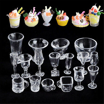 17PCS Clear Ice-Cream Sundae Mini Cup For Dollhouse Miniatures Food Supply CHIC