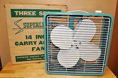 "Vintage Superlectric Turquoise - 14"" Box Fan 3 Speed - Model 1475 - Runs Great!"