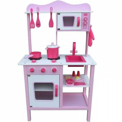 Wooden Pink Kitchen Cooking Role Play Pretend Toy Cooker Oven Utensils Pan Set
