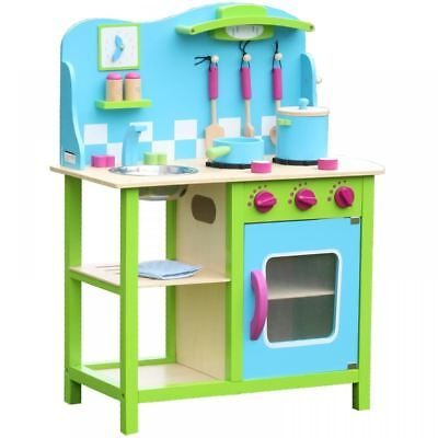 Wooden Blue Green Kitchen Cooking Role Play Pretend Toy Cooker Oven Utensils Set