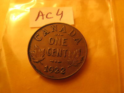 CANADA 1922 Small Cent Penny Key Date ID#AC4 .