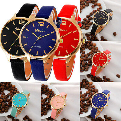 Womens Fashion Watches Faux Leather Quartz Analog  Stainless Steel Wrist Watch
