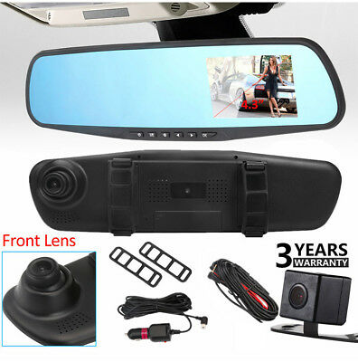 "Front & Rear Dash Camera Dual Lens Rearview View Mirror Cam 4.3"" HD LCD Screen"