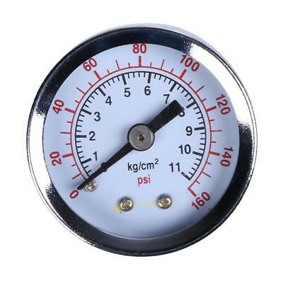 "Air Compressor Hydraulic Pressure Gauge 1.5""Face Back Mount 1/8"" NPT 160PSI SS6"