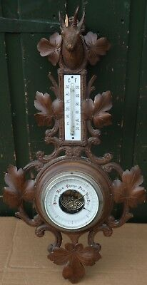 Fab Looking Old Carved Ornate Black Forest Barometer To Restore