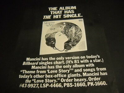 HENRY MANCINI The Album That Has The Hit LOVE STORY original 1971 PROMO AD mint