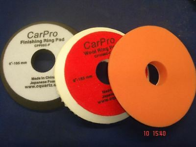 "CarPro 6"" Ring Finishing Polisning Wool Cutting Pad Set Kit Detailing"
