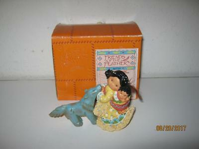 Enesco Friends Of The Feather-Little One To Lean On-Indian With Wolf Fetish