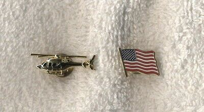 Helicopter/Chopper Gold Tone & US Flag Lapel Pin - Tie Tacks, NEW