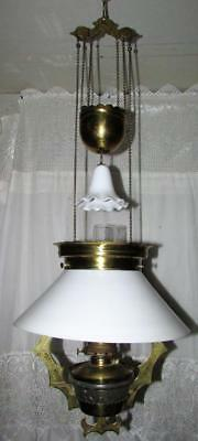 Antique 1882 Hanging Library Oil Lamp w/ Brass Frame Opal White Shade Smoke Bell