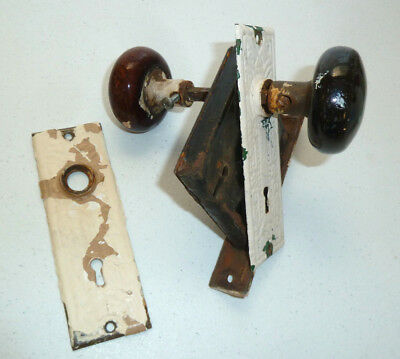 "Antique Vintage ""1600"" Black and Brown Door Knobs, Plates, Lock, but No Key"