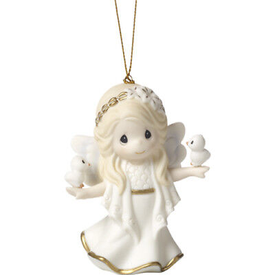 $ PRECIOUS MOMENTS Ornament SNOW WHITE HEAVEN ANGEL Dove Bird Holiday Hanging