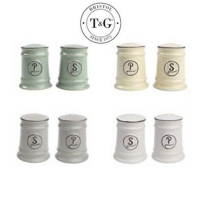 T&G Woodware Pride of Place Salt and Pepper Shaker Set Grey White Green Cream