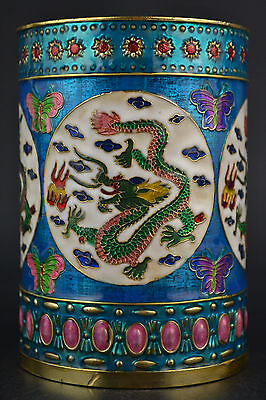 Fine Collectible China Old Cloisonne Carve Dragon Colored Drawing Pen Pot