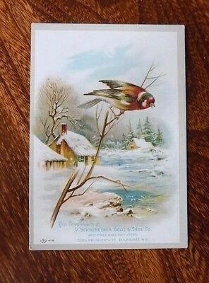 Victorian Trade Card, Schoeonecker Boot & Shoe Co., Milwaukee, Colorful Bird