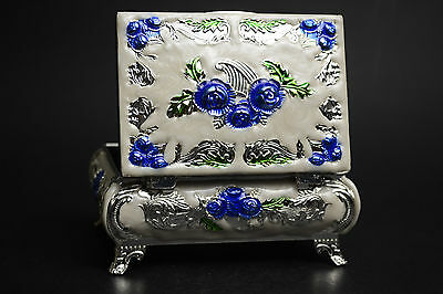 Collectible China Exquisite Beauty Cloisonne Handwork  Decor Ring jewel Box