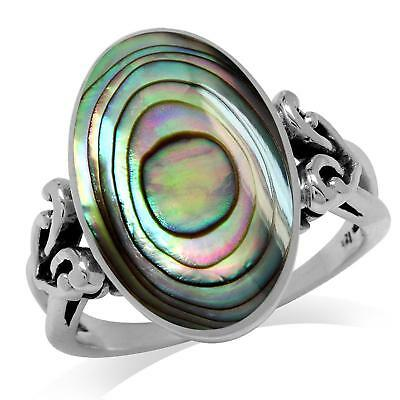 Oval Shape Abalone/Paua Shell Inlay 925 Sterling Silver Victorian Style...