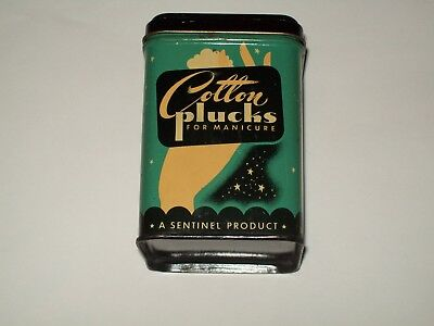Vintage-Cosmetic-Canister-Tin-Sentinel-COTTON-PLUCKS-for-Manicure-Empty
