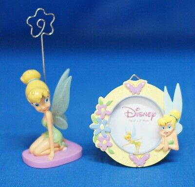 Tinker Bell Kneeling Figurine Photo Clip & Round Picture Frame Disney Enesco