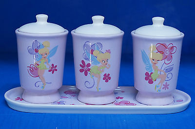 Tinker Bell Ms Tink 4 Piece Ceramic Canister & Tray Set Disney Peter Pan 43834
