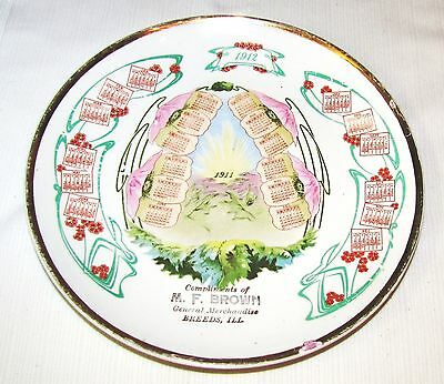 Breeds, Il.--M. F. Brown--1911-1912--Advertising Calendar Plate