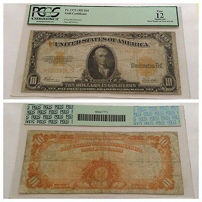 Vintage 1922 $10 Gold Certificate Fr. 1173 Pcgs 12 Fine Apparent Yellow Gold