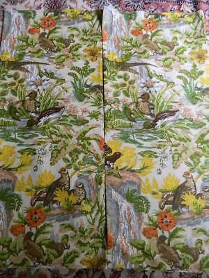 """Vintage UNUSED Country House linen union fabric """"Game Birds"""" Warner Fabric 44""""sq"""