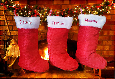 Personalised Embroidered Luxury Feel Red Fluffy Top Velour Christmas Stocking