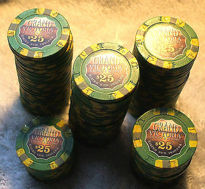 20 - $25. GRAND VICTORIA CASINO CHIPS - Primary Chip - RISING SUN, INDIANA