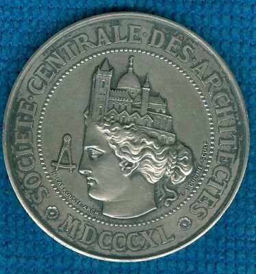 1840 French Silver Award Medal for the Central Society of Architects, by Oudine