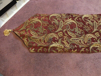 Collectible Beautiful Tapestry Table Runner Gold Rust Reversible 54 +Tassel x 16
