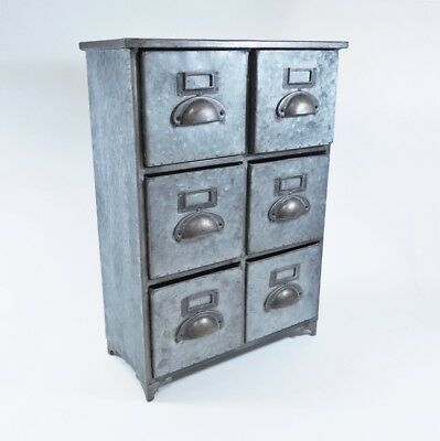 Vintage Antique Style 6 Drawer Galvanized Cabinet, Industrial Kitchen - New
