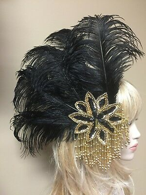 Large Black Ostrich Feather Hair Clip w/Sequin Flower & Beaded Fringe Headdress