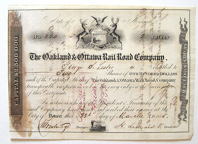 Oakland & Ottawa Michigan Railroad Stock Cert 1856