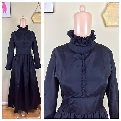 Vtg 50s Victorian Edwardian Ruffled Witchy Evening Hostess Modest Gown Dress M