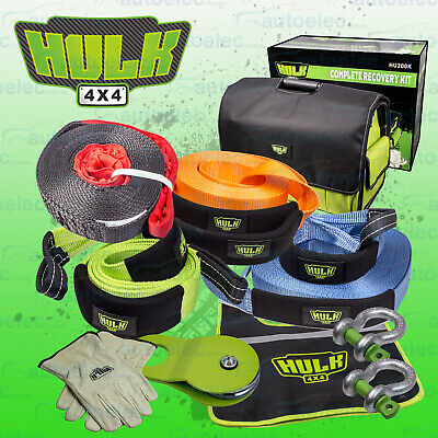 Hulk Hu200K 9 Pce Large Recovery Kit 4X4 Offroad Winch Straps Shackles + Warn