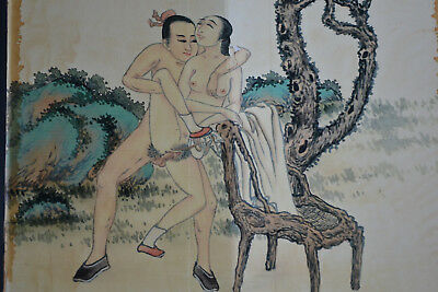 Old Collectible China Style Vintage Painting Sexy Theme Decor