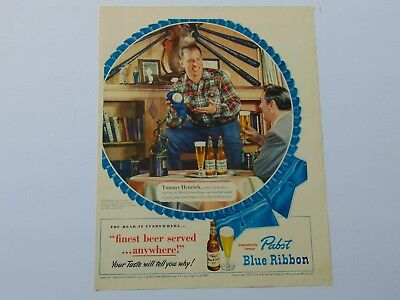 1950-PABST BLUE RIBBON BEER Tommy Henrich  Baseball Player- print ad -565