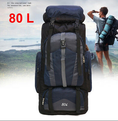 80L Waterproof Rucksack Backpack Luggage Bag For Camping Hiking Travel Outdoor