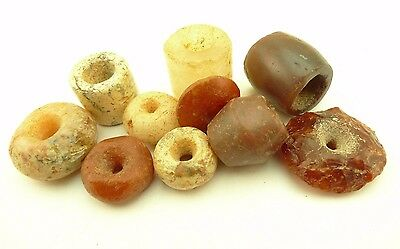 10 pcs mixed ancient semi-precious stone trade beads old Sahara Africa AF-0047