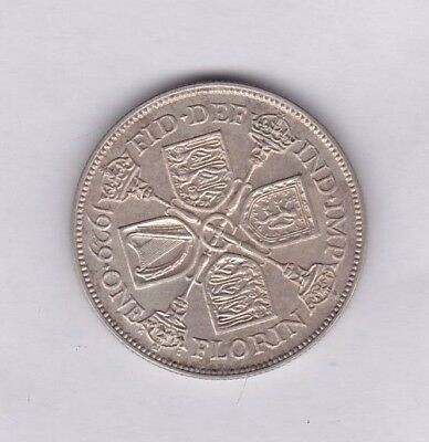 1929 George V 50% Silver Florin In Near Extremely Fine Condition