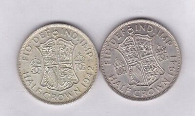 1941 & 1942 George Vi 50% Silver Half Crowns In Near Extremely Fine Condition