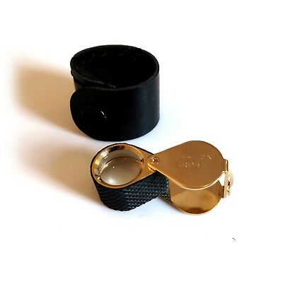 GOLD + BLACK JEWELLERS MAGNIFIER LOUPE EYEGLASS TRIPLET 18mm 10x LENS MAGNIFYING